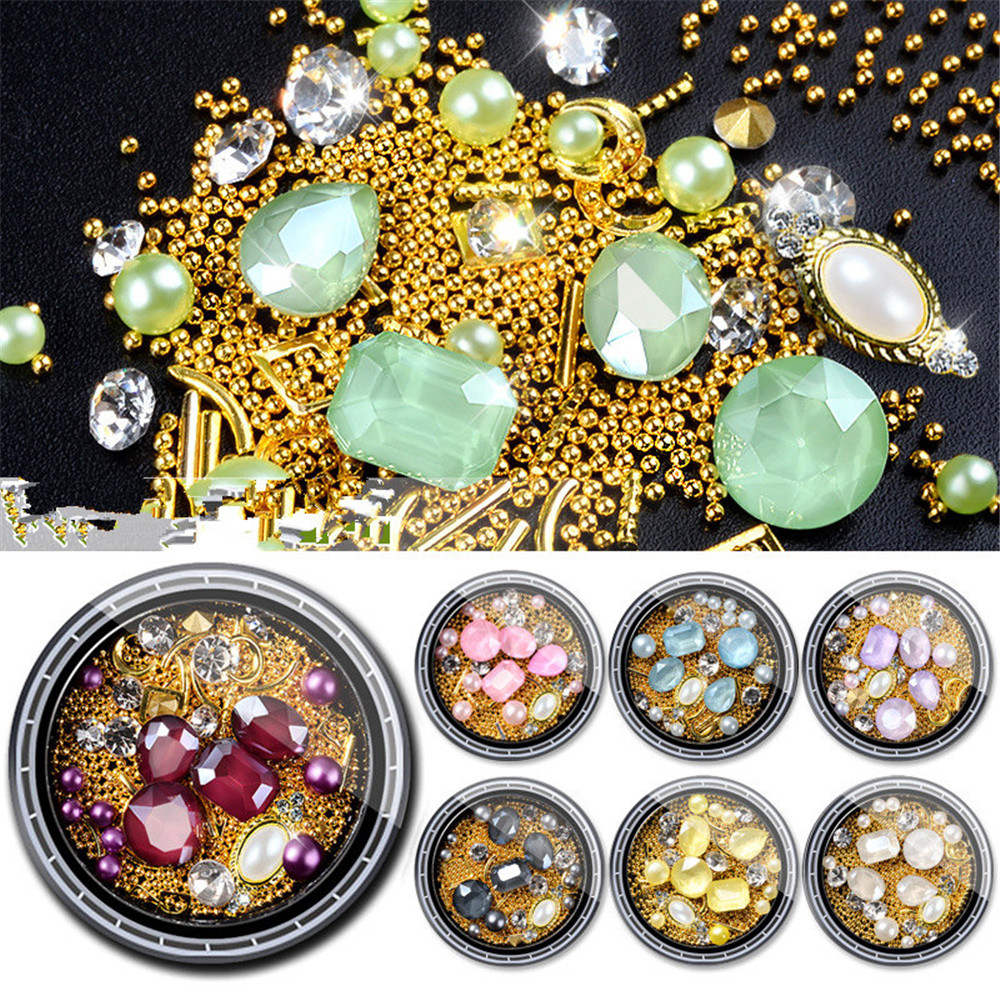 Metal Stud Glass Beads Gems Rhinestones for Nail Art Decorations Nail Accessoires 3D Charms Crystal Nail Design Manicure Tools