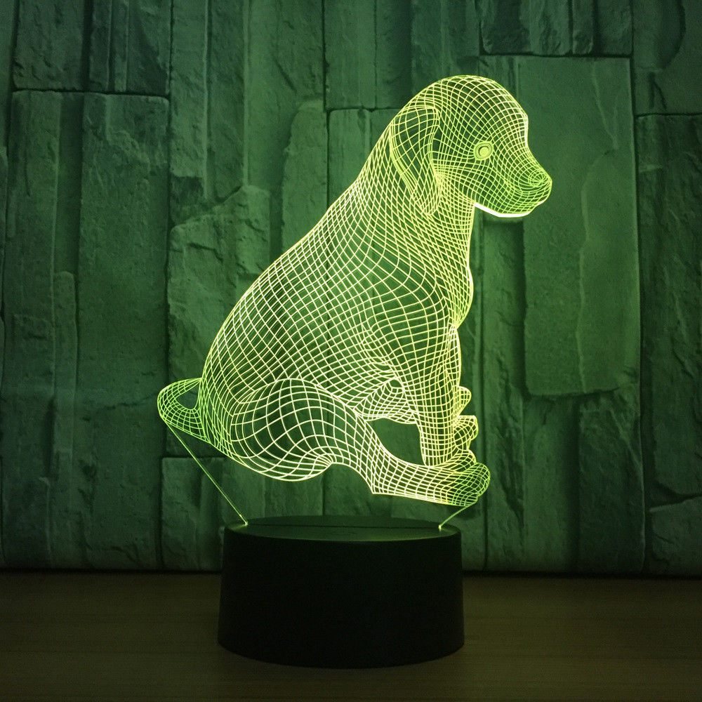 Promotion! 3D Acrylic Sitting Dog Night Light 7 Color Change LED Desk Lamp Touch Room Decor Gift