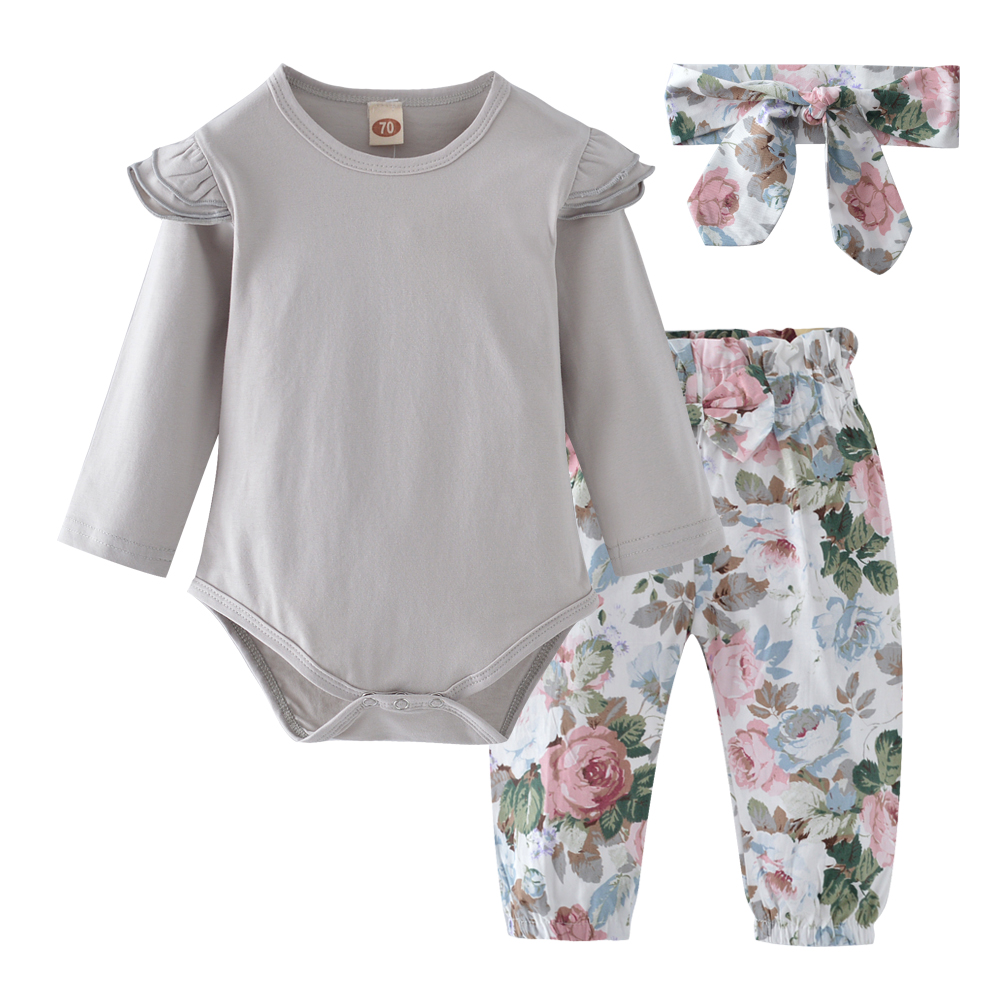 New Baby Girls Clothing Sets Tops Playsuit Bodysuit Floral Pants Headband Outfit Set 3Pcs Newborn Infant Baby Girls Clothes Set