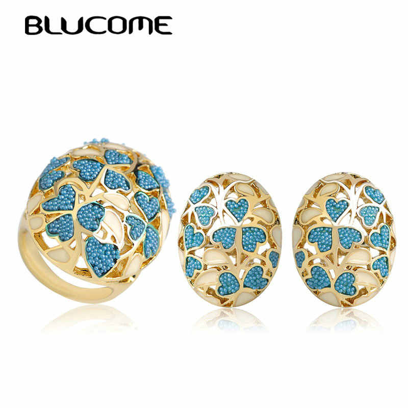 Blucome Blue Heart Shape Wide Ring Earrings Set Enamel Alloy Flower Jewelry Sets For Women Girls Party Engagement Brand Bijoux