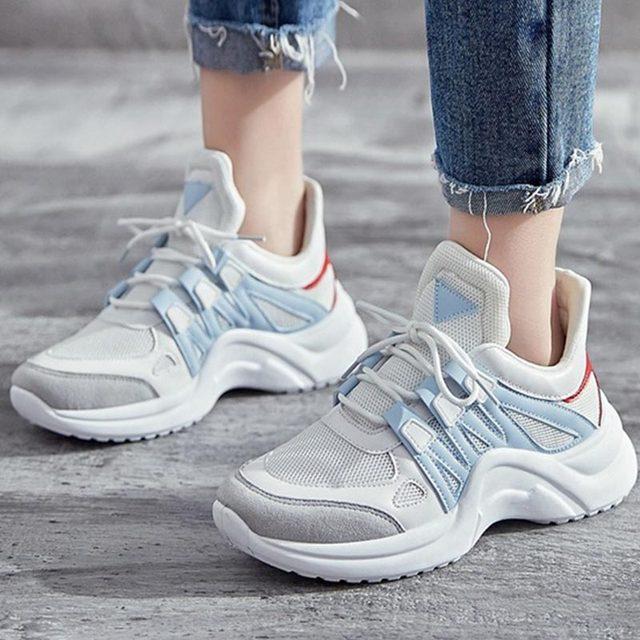 Yaz Ayakkabı Kadın Eğitmenler Vulkanize Ayakkabı Örgü Tenis Feminino Beyaz Platform Sneakers Takozlar Buty Damskie Zapatillas Mujer