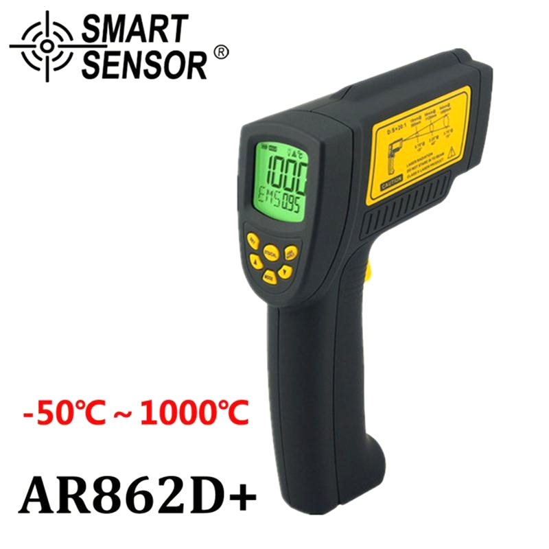 Digital IR Laser Temperature Gun non contact Infrared Thermometer Pyrometer Aquarium -50 ~ 1000C AR862D+ Emissivity Adjustable holdpeak hp 1320 digital laser infrared ir thermometer gun meter non contact 50 1500c temperature tester pyrometer