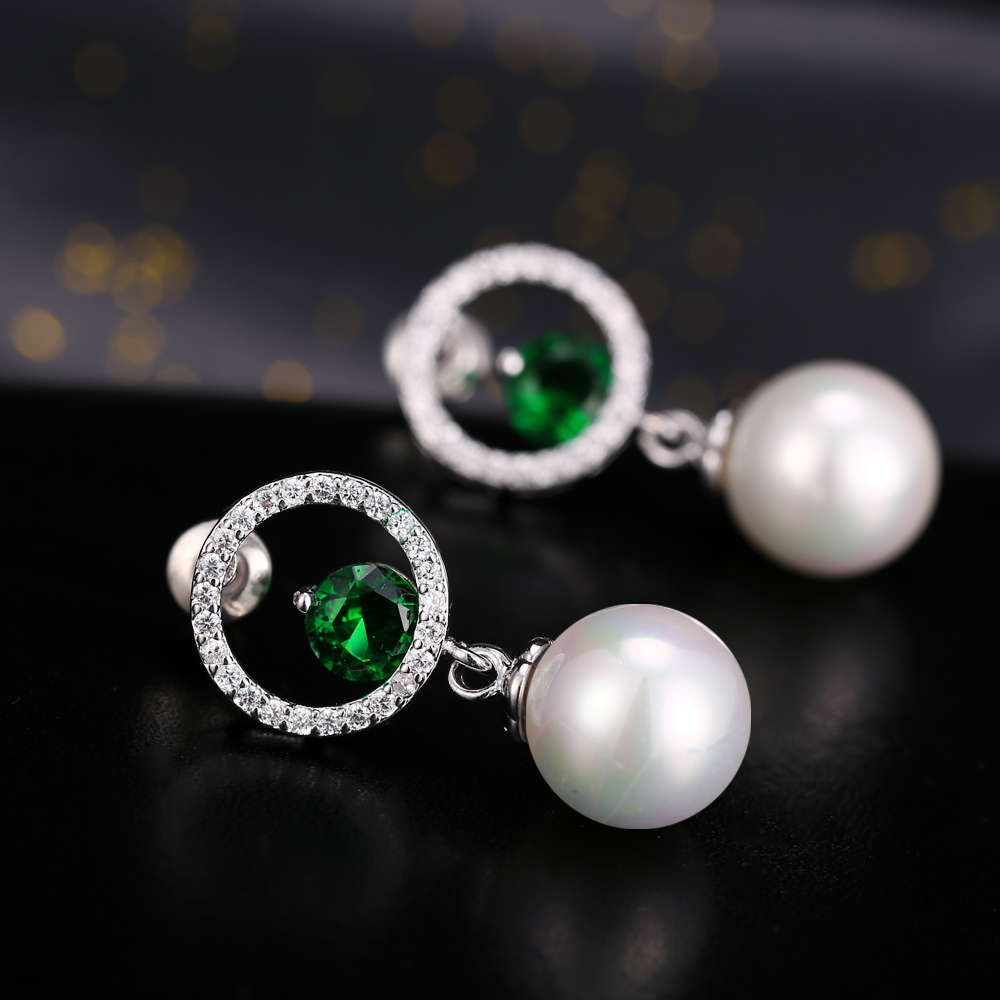 Free shipping designer elegant simulated pearl earrings white gold free shipping designer elegant simulated pearl earrings white gold color round cz crystal chandelier earring for women gift in drop earrings from jewelry arubaitofo Image collections