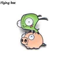 Flyingbee Alien Invader ZIM Enamel Pin For Clothes Bags Backpack badge Funny Cute Brooch Shirt Lapel Pins X0228