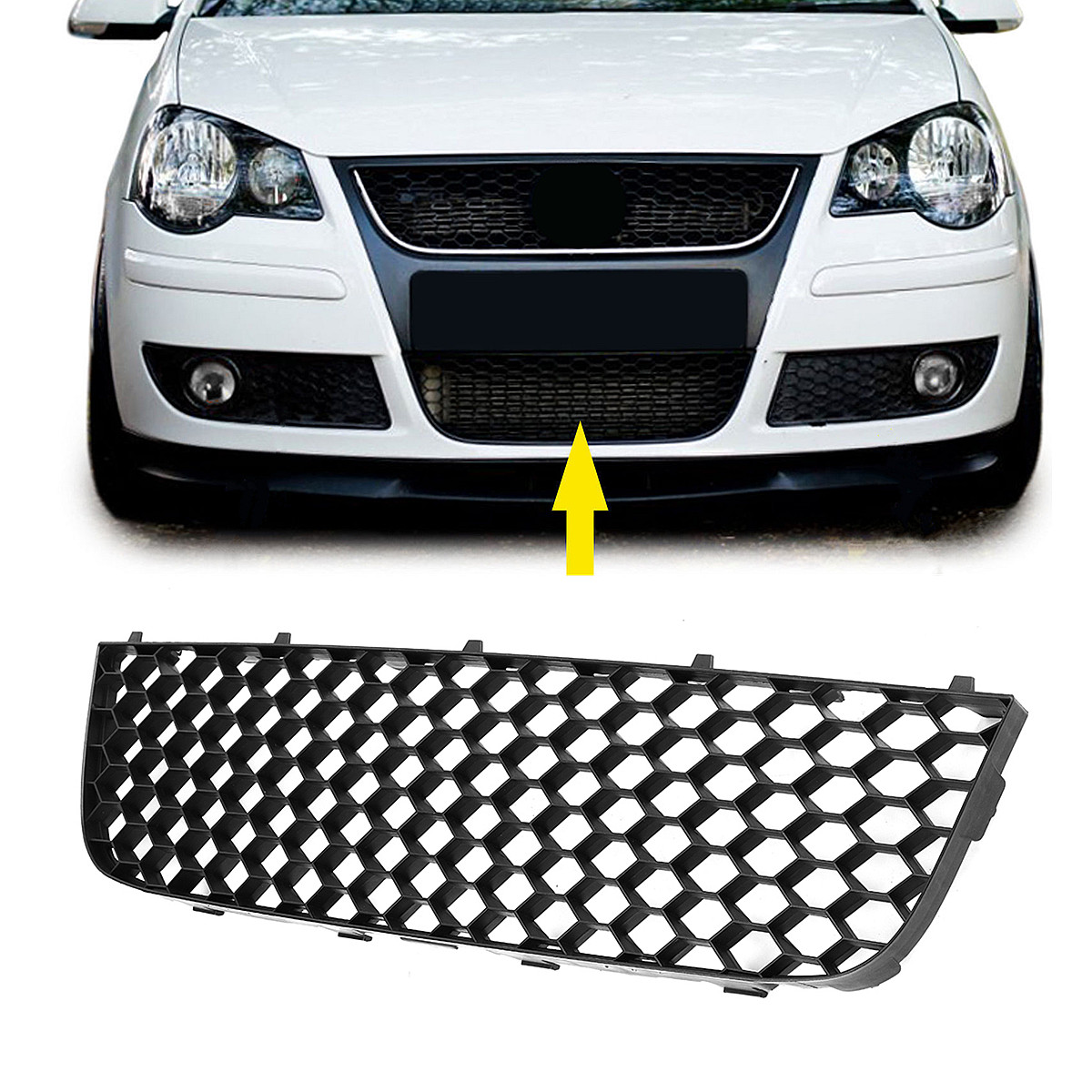 Car Front Bumper Lower Fog Light Vent Grille Fit For VW POLO GTI 06 09 MK4 9N3 Black ABS Perfect Match Clean/Elegant Style