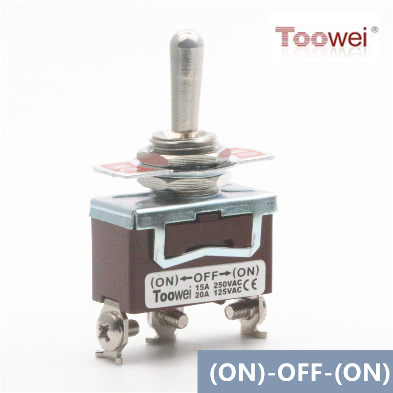 Toowei Momentary Toggle Switch 6PINS ON-OFF-ON Solder Terminal 15A 250V//20A 125V