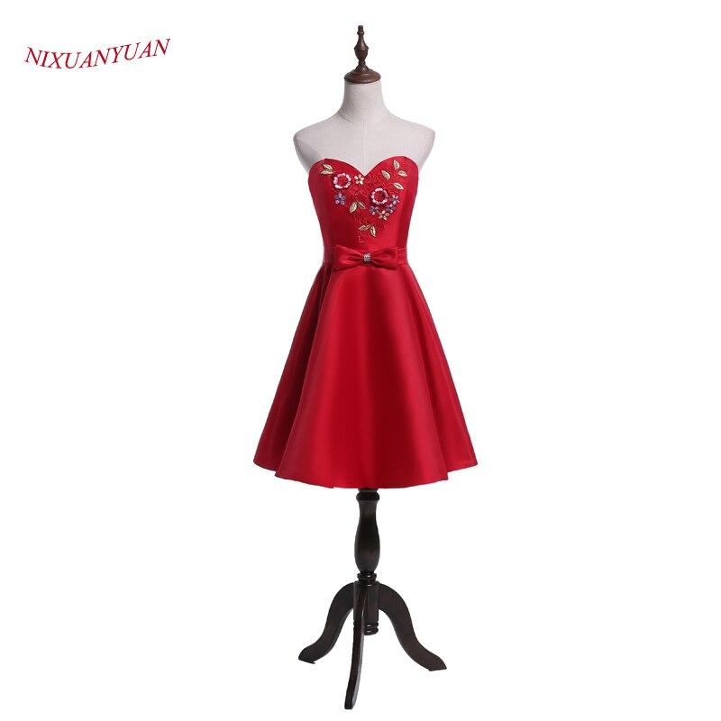 NIXUANYUAN 2017 New Design Charmiga Blommor Prom Party Dress Kort Röd Satin Cocktail Klänning 2017 Cocktail Cocktail Med Bow