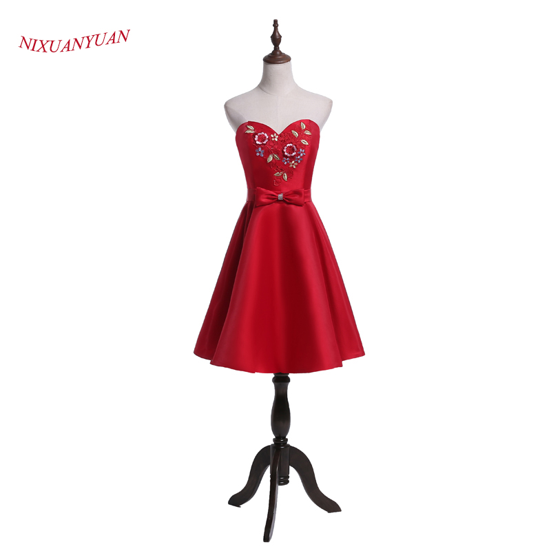 NIXUANYUAN 2017 New Design Charming Flowers Prom Party Dress Short Red Satin Cocktail Dress 2017 vestidos de cocktail With Bow