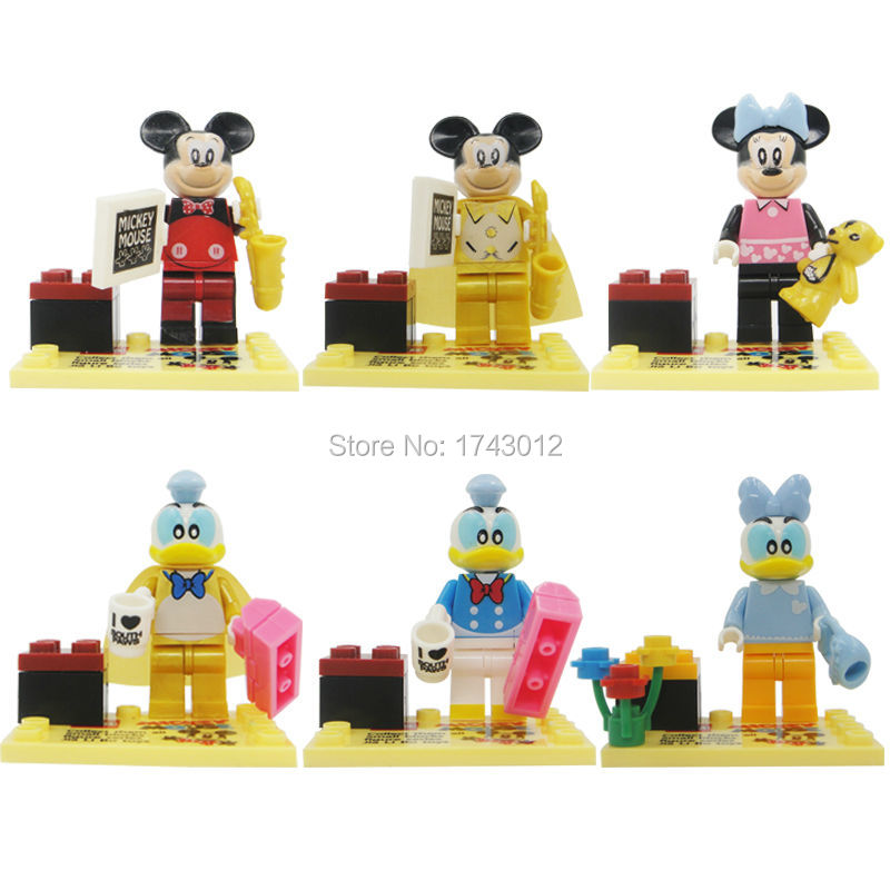 6pcs/lot JLB Mickey And Minnie Mickey Mouse/donald Duck Building Block Sets Brick Toys gift action figure toys for children
