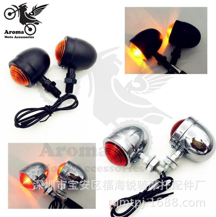 1 pair retro moto blinker lamp amber universal motorbike flasher for harley yamaha honda suzuki motorcycle turn signal light