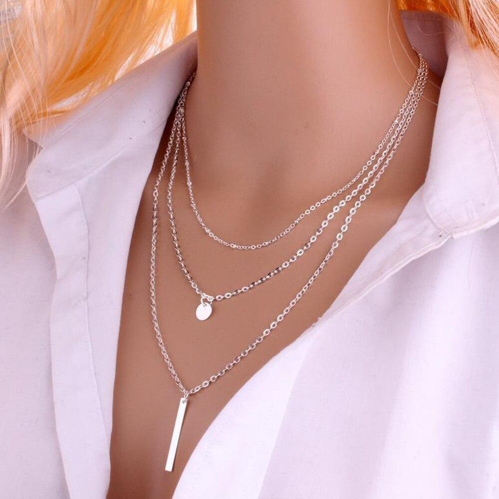 2019 nuevas mujeres moda Color oro 3 capas cadena collar hueco triángulo largo colgante collares joyería regalo