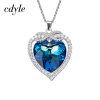 Cdyle 925 Sterling Silver Necklace Embellished with crystal Heart Pendant parure bijoux femme mariage