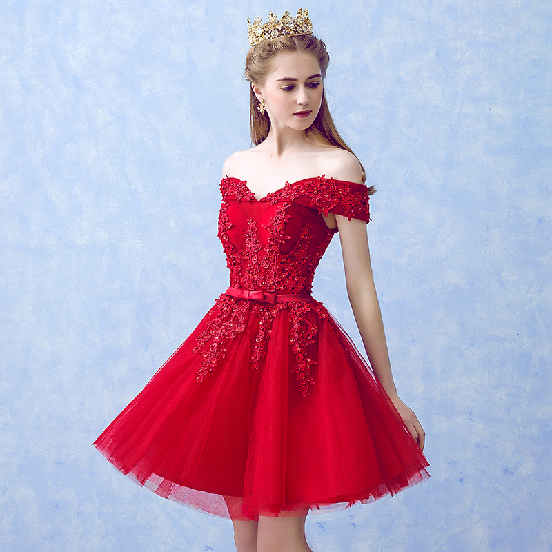 LAMYA Sexy Red Lace Elegant Knee Length Prom Dresses 2018 New Arrived Women Beading A Line Evening Party Dress With Bow 1
