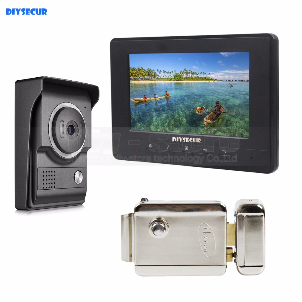DIYSECUR 7inch Video Intercom Video Door Phone 700TV Line IR Night Vision HD Camera + Electric Lock for Home Office Factory diysecur electric lock 7inch video intercom video door phone ir night vision outdoor camera black 1v1