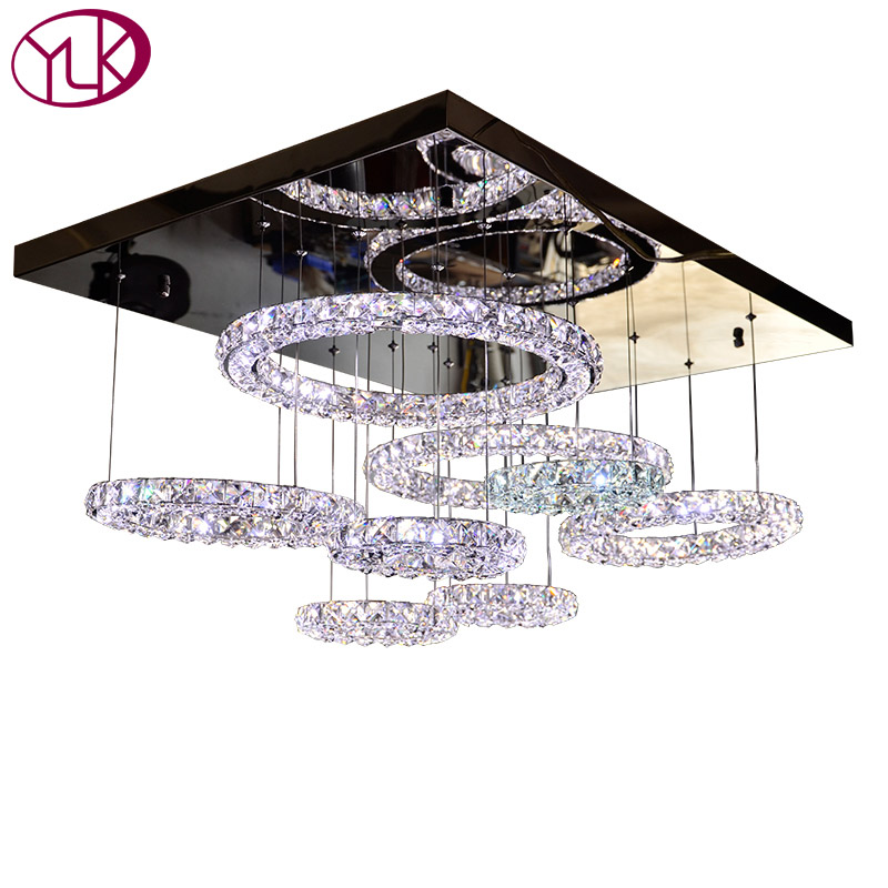 Top Luxury Modern Crystal Chandelier Lighting Living Room Rectangle Home Decoration LED Lustres De Cristal For Ceiling modern crystal chandelier hanging lighting birdcage chandeliers light for living room bedroom dining room restaurant decoration