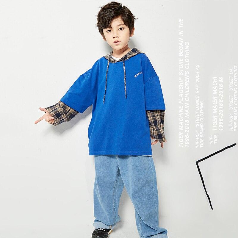 584b0bb91c63 Traje de Jazz azul con capucha Top Jeans niño Hip Hop ropa niños calle  baile desgaste niños ...
