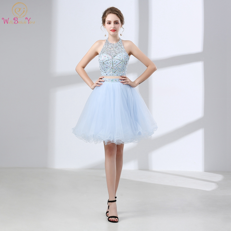 Stock Cocktail Dresses Sky Blue Beading Sequined Crystals Bling Bling Sleeveless Halter Two Pieces Skirt Backless Cocktail Gown
