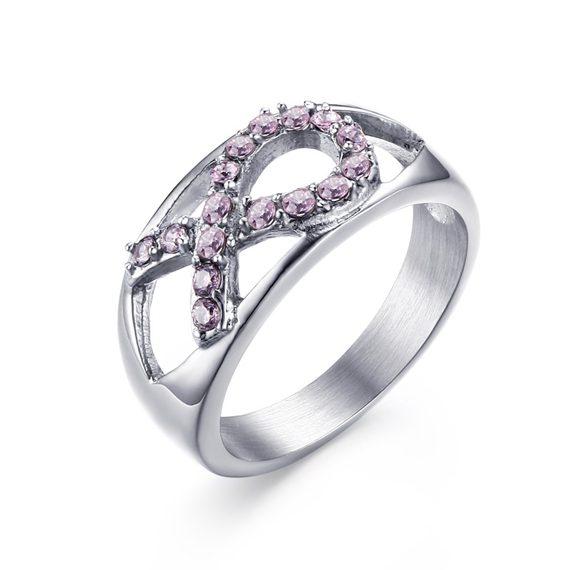 jewelry silver survivor ring band breast double rings cancer
