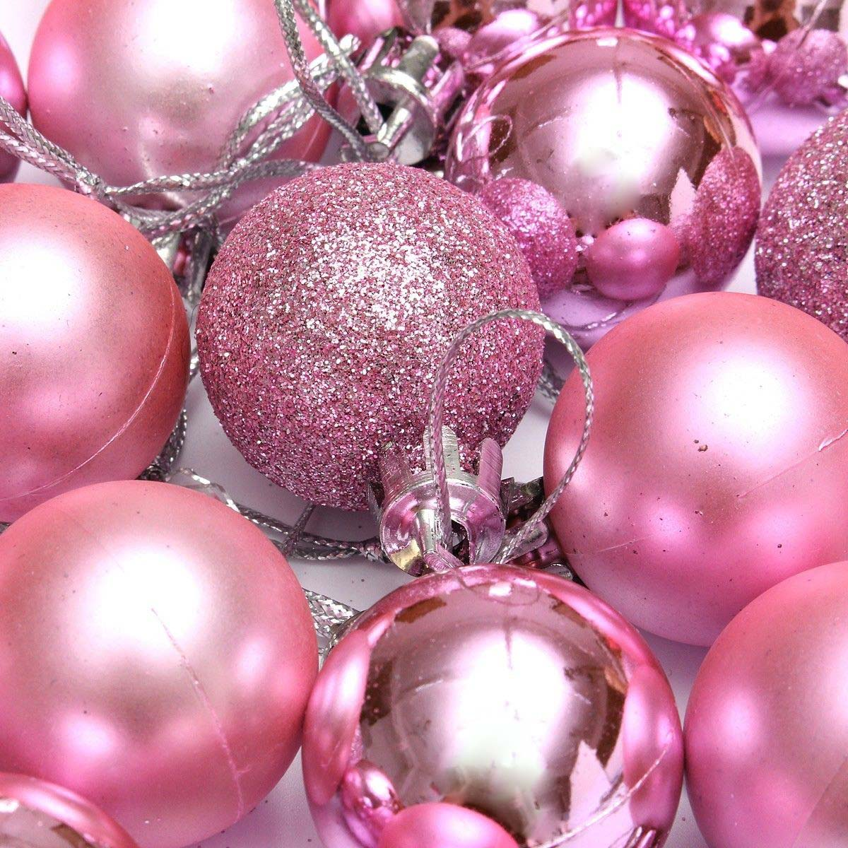 Image 3 - Hot 24Pcs Chic Christmas Baubles Tree Plain Glitter XMAS Ornament Ball Decoration Pink-in Party DIY Decorations from Home & Garden