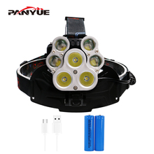 PANYUE Powerful Headlight 5000 Lumen headlamp 3*T6 +4*XPE LED Head Lamp Flashlight Torch Lanterna with 18650 battery charger powerful xml t6 headlight 5000 lm rechargeable led headlamp t6 flashlight head torch lamp wall ac adapter charger 18650 battery