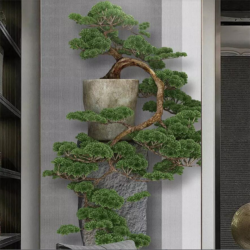 Beibehang New Chinese Zen Three-dimensional Pine Tree Porch Decorative Painting Custom Large Mural Green Wallpaper Mural