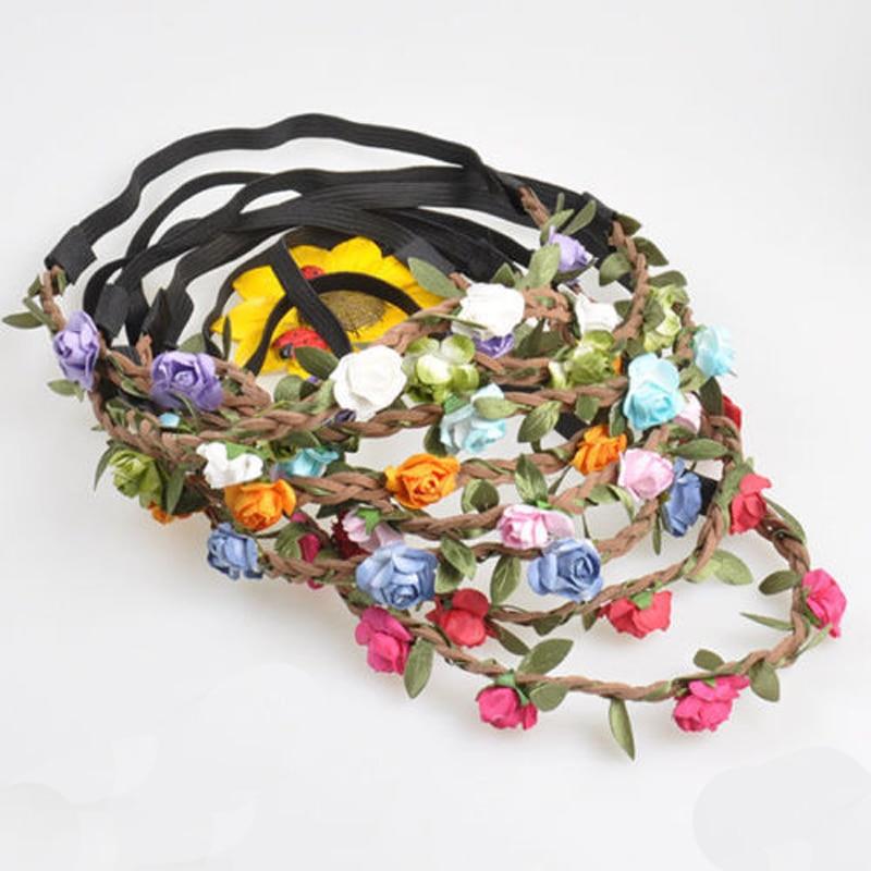 1Pc New Bohemian Wreath Flower Crown Wedding Garland Forehead Hair Head Band Headwear reccagni angelo бра reccagni angelo a 634 2