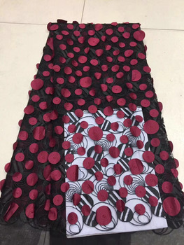 Nigerian Handwork Lace Fabric 3D Applique Black RED French Tulle Lace Fabrics High Quality Embroidered French Lace Fabric Dress