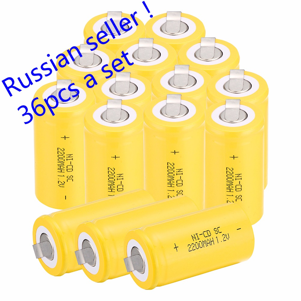 Russian seller 36 pcs Sub C SC battery 1 2V 2200 mAh Ni Cd NiCd Rechargeable