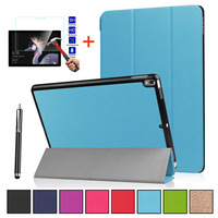 Leather Smart Cover For Microsoft Surface Pro 5 12.3 Magnetic Stand Flip Cover protective Case+Tempered Glass+Stylus Pen