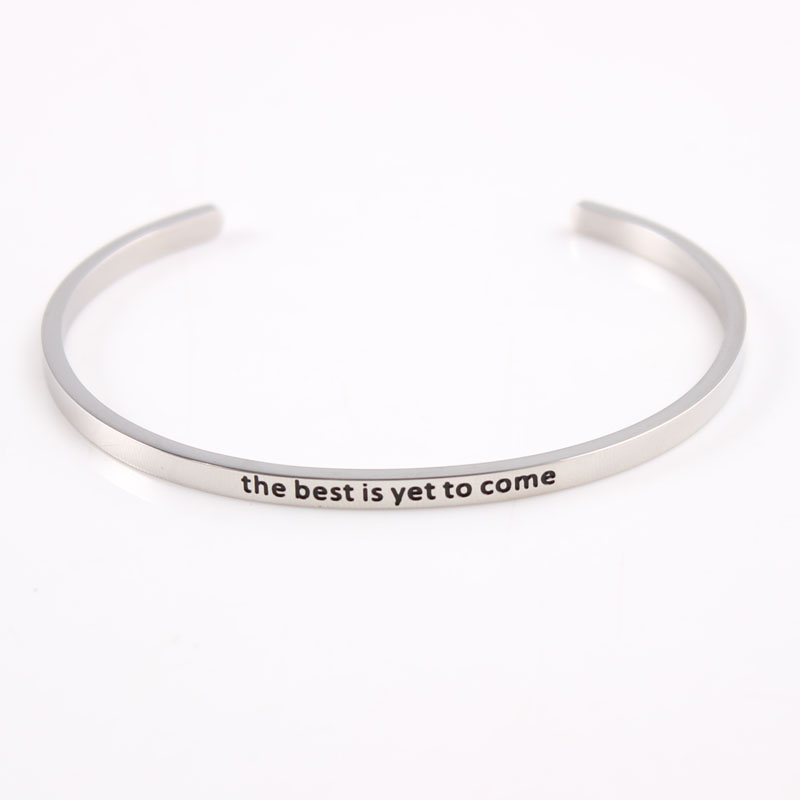Stainless Steel Inspirational Mantra Bracelet Engraved the best is yet to come Quote Hand imprint Bangle Bracelets For Women Men image