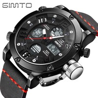 GIMTO Brand Waterproof Men Watch Digital Army Male Watches Brand Clock Dual Time Quartz Analog Wristwatch