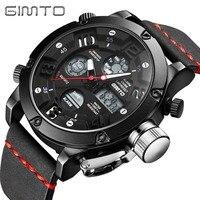 GIMTO Brand Waterproof Men Watch Digital Army Male Watches Brand Clock Dual Time Quartz Analog Wristwatch