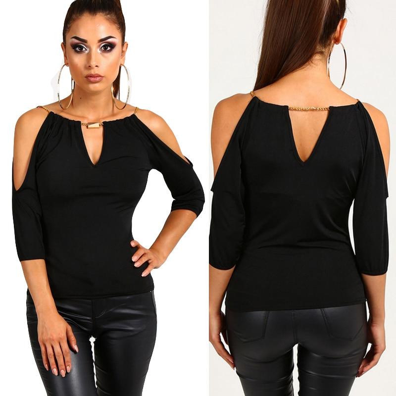 Hombro Verano Blusas Tops V Sexy Mujeres Camisa Oficina Casual Negro Blusa Moda Frío Mujer cuello Suelta 5wPnOxf