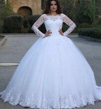 Vintage Spitze Appliques Hochzeit Kleider Mit Langen Ärmeln Ballkleid Formale Hochzeit Kleider Weiß Braut Kleid 2020 robe de soiree