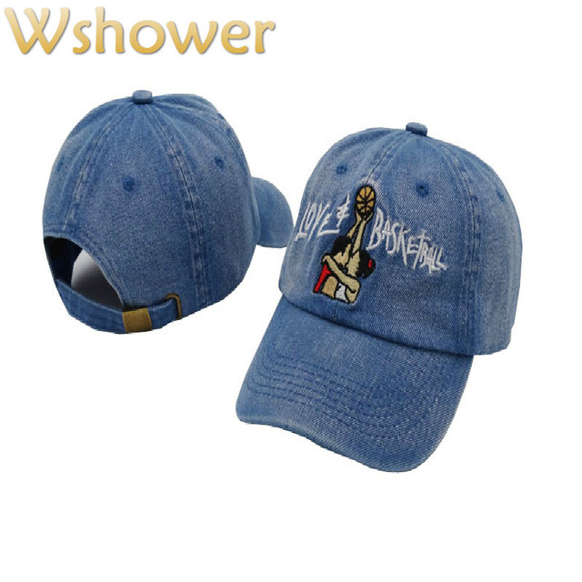 56809eaf7a0 Which in shower Black Denim Love Basketball Movie Retro Baseball Cap Hip  Hop Snapback Brand Hat For Men Women Vintage Dad Cap