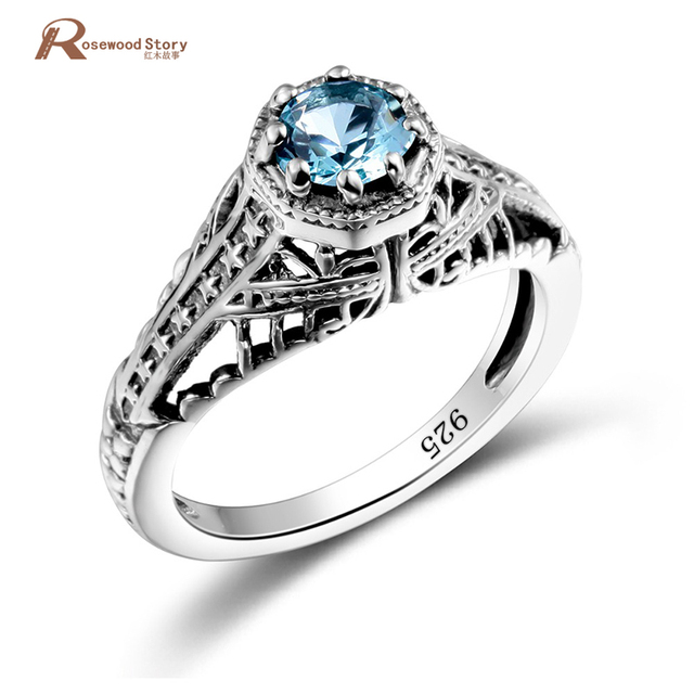 The Vampire Diaries Ring Elena Blue Stones Crystal Vintage 925 Sliver Women Engagement Wedding Band Promise