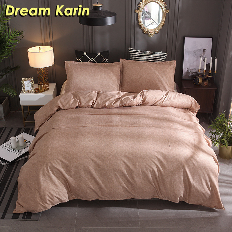 Dream Karin Home Textile Luxury Bedding Sets For Adult White Soild Color Polyester Duvet Comforter Covers With Pillowcase