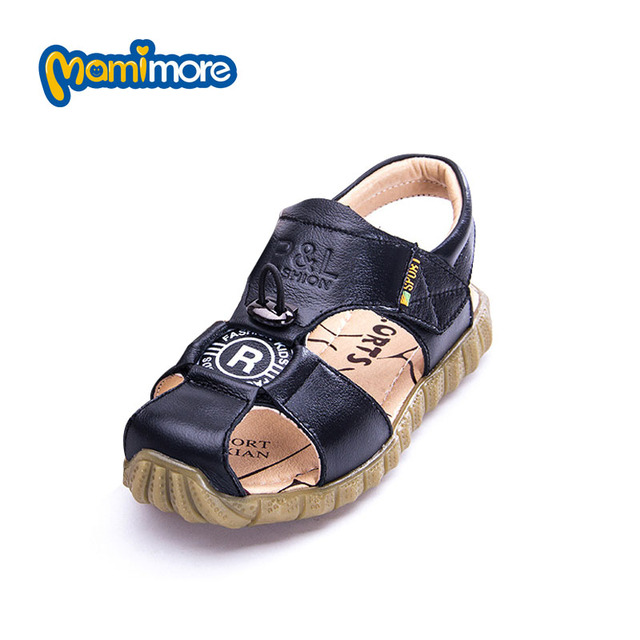 Mamimore Boys Sandals New Brand Summer Fashion Round Solid Color Leather Children Sandals Shoes Soft Bottom Non-Slip Beach Shoes