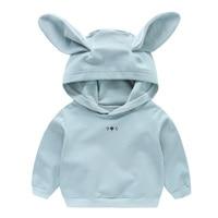 2018 lente meisjes katoenen konijn hoody kinderen hoodie casual kids tops kostuum lange t shirt jersey kleding
