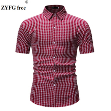 Fashion men's shirt plaid pattern turn-down collar short sleeve casual shirt blouse for with men shirts girls plaid blouse 2019 spring autumn turn down collar teenager shirts cotton shirts casual clothes child kids long sleeve 4 13t
