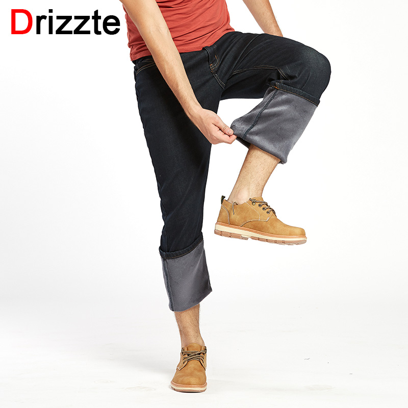 Drizzte Plus Size 32-52 Jeans Winter Thicken Thermal Fleece Lined Stretch Denim Jeans Jean Trousers Pants 40 42 44 46 48 50 52 plus cashmere warm jean men 2017 new winter fashion cotton stretch feet pants clothing business denim trousers big size 44 46 48