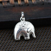Elephant Pendant S925 Sterling Silver Wholesale Handmade Silver Style Woman DIY Bracelet Accessories Double Stereo