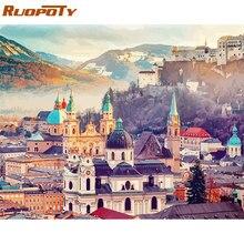Ruopoty 60x75 см рамка Diy картина по номерам комплект Замок Пейзаж Современная Стена искусство изображения пронумерованы уникальный подарок для домашнего декора