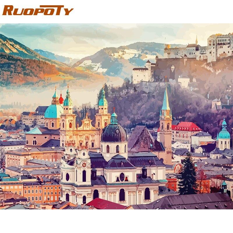 RUOPOTY 60x75 см Рамка Diy живопись по номерам комплект Замок Пейзаж современное настенное искусство картина по номерам уникальный подарок для домашнего декора|Рисование и каллиграфия|   | АлиЭкспресс