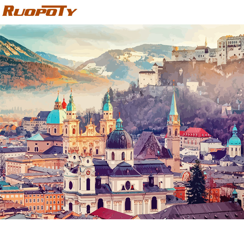 RUOPOTY 60x75cm Frame Diy Painting By Numbers Castle Kit Landscape Modern Wall Art Picture By Numbers Innrech Market.com