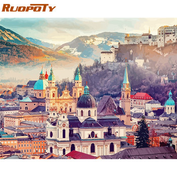 RUOPOTY 60x75cm Frame Diy Painting By Numbers Castle Kit Landscape Modern Wall Art Picture By Numbers Unique Gift For Home Decor