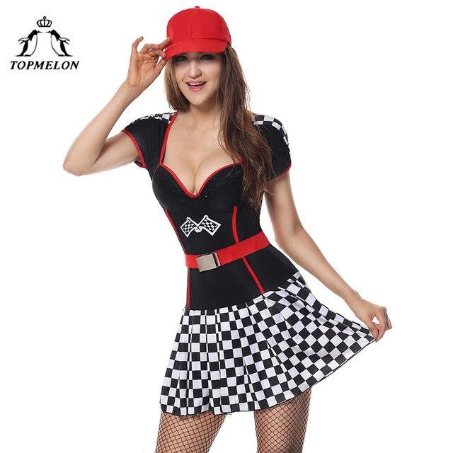 7a46c36dd TOPMELON carrera de modelo coche Cosplay Push Up Sexy vestido con cinturón  sombrero conjunto completo a cuadros mujeres Mini para vacaciones Halloween