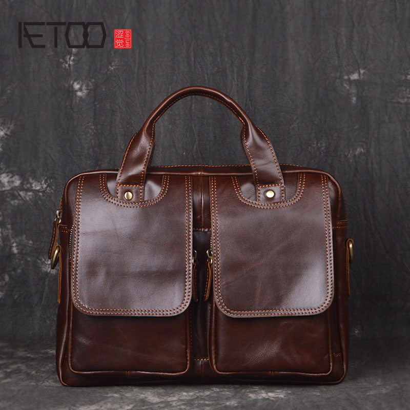 AETOO Europe and the United States first layer of oil wax leather men's handbag diagonal cross-A4 package multi-functional compu owls of the united states and canada – a complete guide to their biology and behavior