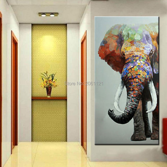 Online Shop hand painted large big elephant wall art abstract ...