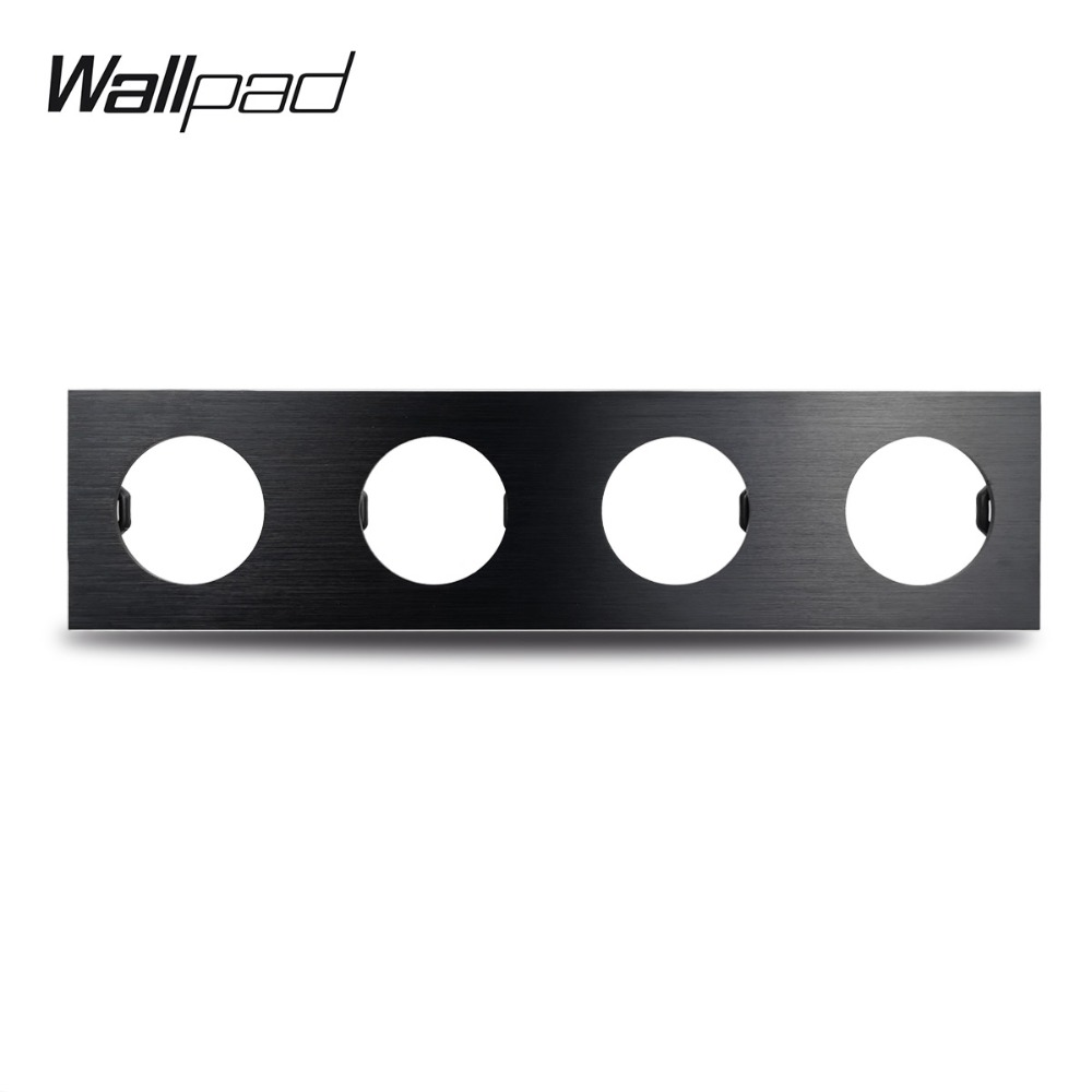 Wallpad L6 DIY Black Quadruple 4 Gang Frame Brushed Aluminum Metal Plate For Wall Switch Socket Free Combination, 344*86mm